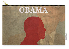 United States Of America President Barack Obama Facts Portrait And Quote Poster Series Number 44 Carry-all Pouch by Design Turnpike