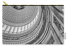 Carry-all Pouch featuring the photograph Unites States Capitol Rotunda Bw by Susan Candelario