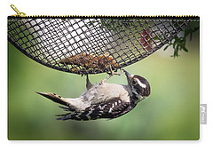 Upside Down Downy Woodpecker Carry-all Pouch
