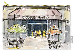 Coffee Shop Watercolor Sketch Carry-all Pouch