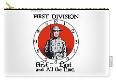 Carry-all Pouch featuring the painting Us Army First Division - Ww1 by War Is Hell Store