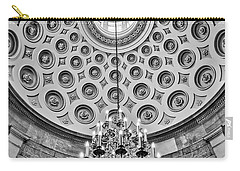 Carry-all Pouch featuring the photograph Us Capitol Rotunda Washington Dc Bw by Susan Candelario