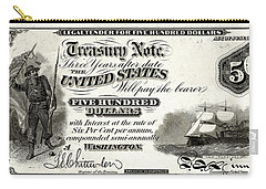 Carry-all Pouch featuring the digital art U.s. Five Hundred Dollar Bill - 1864 $500 Usd Treasury Note  by Serge Averbukh