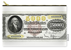 Carry-all Pouch featuring the digital art U.s. Five Thousand Dollar Bill - 1878 $5000 Usd Treasury Note  by Serge Averbukh