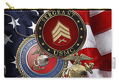 U. S. Marines Sergeant - U S M C Sgt Rank Insignia Over American Flag Carry-all Pouch