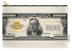 Carry-all Pouch featuring the digital art U.s. One Hundred Thousand Dollar Bill - 1934 $100000 Usd Treasury Note  by Serge Averbukh