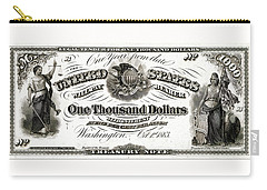 Carry-all Pouch featuring the digital art U.s. One Thousand Dollar Bill - 1863 $1000 Usd Treasury Note by Serge Averbukh