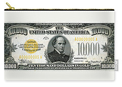 Carry-all Pouch featuring the digital art U.s. Ten Thousand Dollar Bill - 1934 $10000 Usd Treasury Note by Serge Averbukh