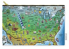 Usa Cartoon Map Carry-all Pouch