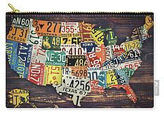 Carry-all Pouch featuring the digital art Usa License Plates Map by Taylan Apukovska
