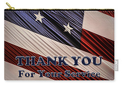 Carry-all Pouch featuring the photograph Usa Military Veterans Patriotic Flag Thank You by Shelley Neff