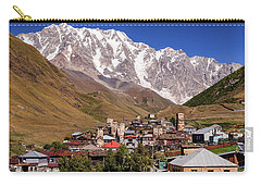 Carry-all Pouch featuring the photograph Ushguli And  Shkhara Mount by Sergey Simanovsky