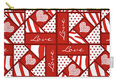 Valentine 4 Square Quilt Block Carry-all Pouch