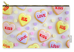 Carry-all Pouch featuring the photograph Valentine Heart Cookies by Teri Virbickis