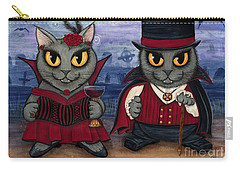 Carry-all Pouch featuring the painting Vampire Cat Couple by Carrie Hawks