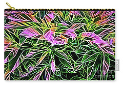 Variegated Leaves Pink And Green Carry-all Pouch