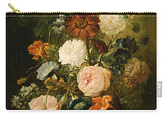Carry-all Pouch featuring the painting Vase Of Flowers by Follower of Jan van Huysum
