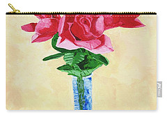 Carry-all Pouch featuring the painting Vase Of Red Roses by Rodney Campbell