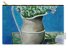 Vase On Table With Flowers Carry-all Pouch by Mike Caitham