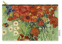 Carry-all Pouch featuring the painting Vase With Daisies And Poppies by Van Gogh
