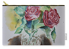 Vase With Red Roses Carry-all Pouch