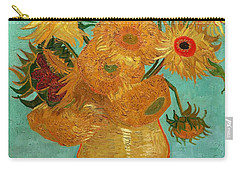 Carry-all Pouch featuring the painting Vase With Twelve Sunflowers by Van Gogh