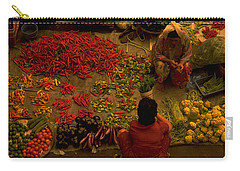 Carry-all Pouch featuring the photograph Vegetable Market In Malaysia by Travel Pics