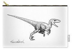 Velociraptor - Dinosaur Black And White Ink Drawing Carry-all Pouch by Karen Whitworth