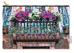 Carry-all Pouch featuring the photograph Venice Flower Balcony by Allen Beatty
