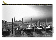 Carry-all Pouch featuring the photograph Venice Gondolas Black And White by Rebecca Margraf