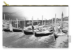 Carry-all Pouch featuring the photograph Venice Gondolas Silver by Rebecca Margraf