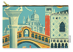 Venice Retro Travel Poster Carry-all Pouch