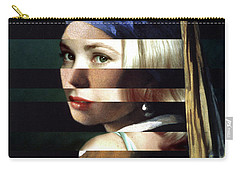 Vermeer's Girl With A Pearl Earring And Grace Kelly Carry-all Pouch by Luigi Tarini