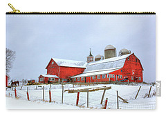 Carry-all Pouch featuring the digital art Vermont Barn by Sharon Batdorf