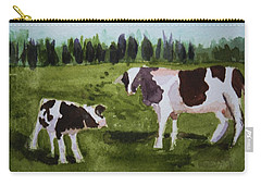 Carry-all Pouch featuring the painting Vermont Cow And Calf by Donna Walsh