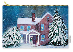 Carry-all Pouch featuring the painting Vermont Studio Center In Winter by Donna Walsh