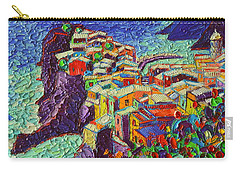 Vernazza Cinque Terre Italy 2 Modern Impressionist Palette Knife Oil Painting By Ana Maria Edulescu  Carry-all Pouch