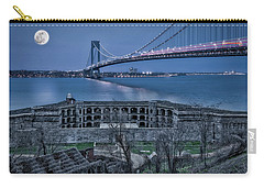 Carry-all Pouch featuring the photograph Verrazano Narrows Bridge Full Moon by Susan Candelario