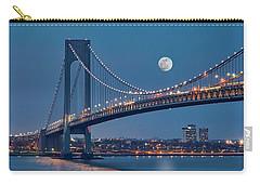 Carry-all Pouch featuring the photograph Verrazano Narrows Bridge Moon by Susan Candelario