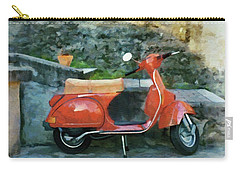 Carry-all Pouch featuring the painting Vespa Parked by Jeff Kolker