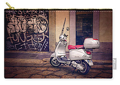 Carry-all Pouch featuring the photograph Vespa Scooter In Milan Italy  by Carol Japp