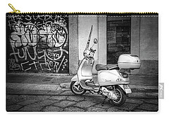 Carry-all Pouch featuring the photograph Vespa Scooter In Milan Italy In Black And White  by Carol Japp