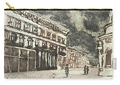 Carry-all Pouch featuring the painting Via Del Corso Rome,piranesi Paraphrase by Martin Stankewitz
