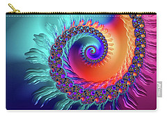 Vibrant And Colorful Fractal Spiral  Carry-all Pouch by Matthias Hauser