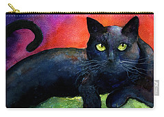 Vibrant Black Cat Watercolor Painting  Carry-all Pouch