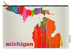 Vibrant Colorful Michigan State Map Painting Carry-all Pouch by Design Turnpike