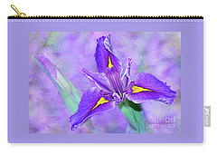 Carry-all Pouch featuring the photograph Vibrant Iris On Purple Bokeh By Kaye Menner by Kaye Menner