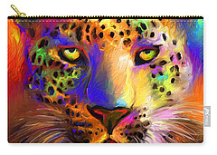 Vibrant Leopard Painting Carry-all Pouch