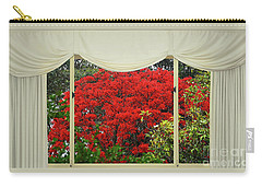 Carry-all Pouch featuring the photograph Vibrant Red Blossoms Window View By Kaye Menner by Kaye Menner
