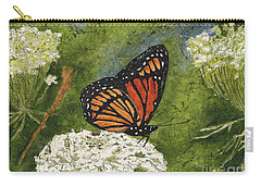 Viceroy Butterfly On Queen Anne's Lace Watercolor Batik Carry-all Pouch